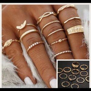 🎉12 piece gold boho midi rings🎉